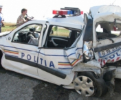 Doi politisti, raniti intr-un accident rutier in comuna timiseana Jebel