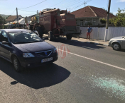 Accident la Husi: o combina a izbit violent un autoturism Logan - FOTO