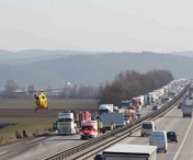 Accident GRAV provocat in Germania de un sofer de TIR roman care se uita la filme, pe mobil