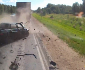 VIDEO! ACCIDENT CUMPLIT surprins in direct de o camera montata pe bordul masinii. Un sofer inconstient a incercat sa depaseasca un TIR si inevitabilul s-a produs